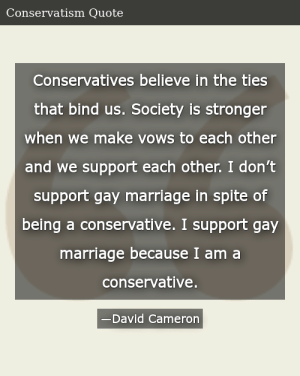 SIZZLE: Conservatives believe in the ties that bind us. Society is stronger when we make vows to each other and we support each other. I don't support gay marriage in spite of being a conservative. I support gay marriage because I am a conservative.