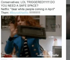 "That feel when seeing a television show not marketed to your demographic is the most adversity youll face all year.: Conservatives: LOL TRIGGERED!!1!! DO  YOU NEED A SAFE SPACE?  Netflix: ""dear white people coming in April""  Them: #BoycottN  the Mindyproje  ulu  GIF That feel when seeing a television show not marketed to your demographic is the most adversity youll face all year."