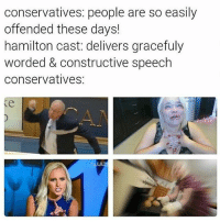 🐸☕️: conservatives: people are so easily  offended these days!  hamilton cast: delivers gracefuly  worded & constructive speech  conservatives: 🐸☕️