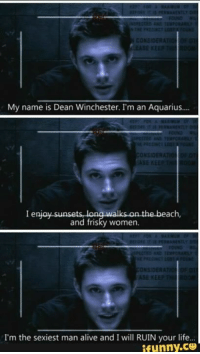 :D  ~ Squirrel: CONSIDER  My name is Dean Winchester. I'm an Aquarius....  I enjoy sunsets long walks on the beach,  and frisky women.  I'm the sexiest man alive and I will RUIN your life  funny COO :D  ~ Squirrel