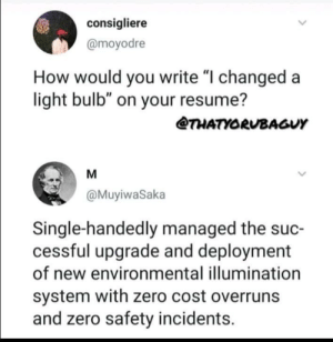"How to?: consigliere  @moyodre  How would you write ""I changed a  light bulb"" on your resume?  THATYORUBAGUY  M  @MuyiwaSaka  Single-handedly managed the suc-  cessful upgrade and deployment  of new environmental illumination  system with zero cost overruns  and zero safety incidents How to?"
