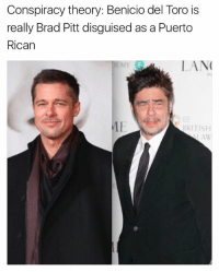 🤔🤔🤔: Conspiracy theory: Benicio del Toro is  really Brad Pitt disguised as a Puerto  Rican  0  LAN  BRITISH 🤔🤔🤔