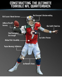 Jay, Kirk Cousins, and Nfl: CONSTRUCTING THE ULTIMATE  TERRIBLE NFL QUARTERBACK  Rex Grossman's Decision-making  Kirk Cousins' Mental alertness  JaMarcus Russell's  Accuracy  Alex Smith's Hand size  Chad Pennington's  Arm strength  Michael Vick's Durability  Peyton Manning's Athleticism  Jay Cutler's Passion  Joe Namath's Knees RT if you agree??? 🤔🤔🤔 https://t.co/nR5yGu0eW4