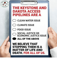 Memes, Native American, and A Matter: CONSU  SOCIATIO  THE KEYSTONE AND  DAKOTA ACCESS  PIPELINES ARE A  CLEAN WATER ISSUE  CLIMATE ISSUE  O FOOD ISSUE  SOCIAL JUSTICE OR  ECONOMIC JUSTICE ISSUE  ALL OF THE ABOVE  WE BELIEVE THAT  STOPPING THEM IS A  MATTER OF LIFE AND  DEATH.  FOR ALL OF US. Trump's decision to revive the controversial Keystone XL and Dakota Access pipelines highlights his support for big business and callousness for public health, climate stability and Native American rights.We must unite all movements. Here's why: http://orgcns.org/2jupdUb #WaterIsLife #NoDAPL