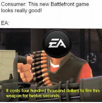 """Fire, Memes, and Game: Consumer: This new Battlefront game  looks really good!  EA:  ZA  It costs four hundred thousand dollars to fire this  weapon for twelve seconds. <p>EA memes are still going strong! via /r/MemeEconomy <a href=""""http://ift.tt/2AXeMz5"""">http://ift.tt/2AXeMz5</a></p>"""