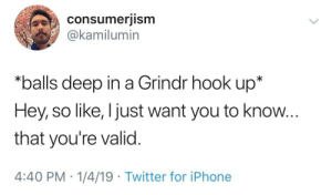 Grindr: consumerjism  @kamilumin  *balls deep in a Grindr hook up*  Hey, so like, I just want you to know...  that you're valid.  4:40 PM 1/4/19 Twitter for iPhone