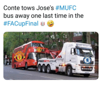 Memes, Time, and 🤖: Conte tows Jose's #MUFC  bus away one last time in the  ELSE  MANSFIEED  FREEBETS.CO.UK The Bus is Beaten 👏😂