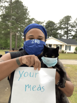 """Content: Coworker had surgery, so we decided to do a """"virtual get well card"""" with everyone holding a different phrase. I felt like my cat would help make her smile if he was also in a mask (defending COVID). This picture is the result. He achieved the goal, she smiled!!: Content: Coworker had surgery, so we decided to do a """"virtual get well card"""" with everyone holding a different phrase. I felt like my cat would help make her smile if he was also in a mask (defending COVID). This picture is the result. He achieved the goal, she smiled!!"""