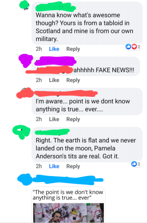 Context: OP (Green) asked which was worse Trump or Bush, Jr. Red said Carter bc he pardoned draft dodgers, Green posted an article from Military Times about Trump being a draft dodger and Red responded with a conspiracy article about the moon landings being fake from a tabloid. I am Blue.: Context: OP (Green) asked which was worse Trump or Bush, Jr. Red said Carter bc he pardoned draft dodgers, Green posted an article from Military Times about Trump being a draft dodger and Red responded with a conspiracy article about the moon landings being fake from a tabloid. I am Blue.