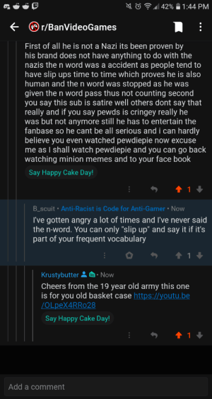 Context: some hag was hating on games and pewdipie and his sub how hes a nazi and is racist ao i responded with this along with the pink guy classic song STFU: Context: some hag was hating on games and pewdipie and his sub how hes a nazi and is racist ao i responded with this along with the pink guy classic song STFU