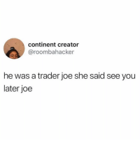 Memes, Twitter, and Good: continent creator  @roombahacker  he was a trader joe she said see you  later joe 🎶HE WASN'T GOOD ENOUGH FOR HER🤘 (@roombahacker on Twitter)