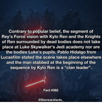 "Bodies , Jedi, and Kylo Ren: Contrary to popular belief, the segment of  Rey's Force vision with Kylo Ren and the Knights  of Ren surrounded by dead bodies does not take  place at Luke Skywalker's Jedi academy nor are  the bodies Luke's pupils. Pablo Hidalgo fronm  Lucasfilm stated the scene takes place elsewhere  and the man stabbed at the beginning of the  sequence by Kylo Ren is a ""clan leader"".  sequence by Kylo Ren is a ""clan leader  Fact #362  @Starwarsfacts I can't wait for The Last Jedi. -"