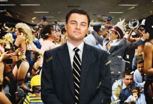 Contrary to the title 'Wolf of Wall Street' (2013), Jordan Belford is played by a human (Leonardo DiCaprio) and not a wolf.: Contrary to the title 'Wolf of Wall Street' (2013), Jordan Belford is played by a human (Leonardo DiCaprio) and not a wolf.