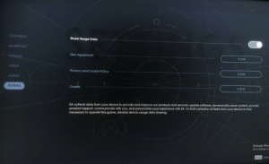Star Wars Jedi: Fallen Order has an option on PC that shares your data with EA that is default on. Just FYI.: CONTROLS  Share Usage Data  GAMEPLAY  User Agreement  VISUALS  VIEW  VIDEO  Privacy and Cookie Policy  VIEW  AUDIO  EXTRAS  Credits  VIEW  EA collects data from your device to provide and improve our products and services, update software, dynamically serve content, provide  product support, communicate with you, and personalize your experience with EA. To limit collection of data from your device to that  necessary to operate this game, disable device usage data sharing.  Activate Wine  Go to Settings to  SPACE Sele Star Wars Jedi: Fallen Order has an option on PC that shares your data with EA that is default on. Just FYI.