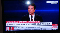 No one knows better about the American experience than Scott Baio: Convention Floor  8:10 PM ET  REPUBLICAN NATIONAL CONVENTION  SITCOM STAR ON WHAT IT MEANS TO BE AN AMERICAN  LIVE  CNN  Baio is a staunch conservative and  has been an outspoken supporter of Trump.  AC360 No one knows better about the American experience than Scott Baio