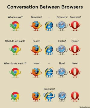 Funny, Memes, and Jokes: Conversation Between Browsers  What are we?  Browsers!  Browsers! Browsers!  What do we want?  Faster!  Faster!  Faster!  When do we want it?  Now!  Now!  Now!  Browsers!  WeKnowMemes  : Hilarious Memes Funny Humor Jokes 4