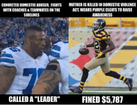 "Greg Hardy vs. William Gay: CONVICTED DOMESTIC ABUSER, FIGHTS  MOTHER IS KILLED IN DOMESTIC VIOLENCE  ACT WEARS PURPLE CLEATSTO RAISE  WITH COACHES & TEAMMATES ON THE  SIDELINES  AWARENESS  @NFL MEMES  CALLED A LEADER"" FINED $5,187 Greg Hardy vs. William Gay"