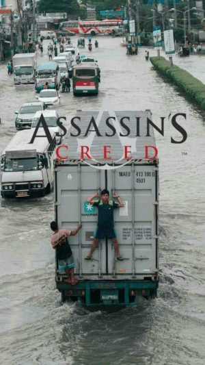 Leaked footage of a new Assassins Creed: COO  ASSASSINS  C REED  TM  MAEU 413 190 0  45U1  OVG 965  MAERSK  GROSS W  PAYLOAD  TABE WT  CUBE  715LIl32500N  L2  804DL 4100KG  28SFT 751M  TES-414 Leaked footage of a new Assassins Creed