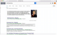 Google, Memes, and News: COOGLE  pathological lying  All Videos News Imagess Shopping Moro Saarch toois  About 1,320000 reauts (0,35 seconds  It is a stand-alone disorder as well as a symptom of other disorders  such as psychopathy and antisocial, narcissistic, and histrioni  personality disorders, but people who are pathological liars may  not possess characteristics of the other disorders  Excessive lying  is a common symptom of several mental di  Pathological lying Wikipedia  https:ien wikipedia.org/wikiPathological lying Wikipedia  Pathological lying -Wikipedia  httpsolen wikipedia.org wikiPathological lying Wiiopedia  is a  stand-alone disorder as well as a symptom of other disorders such aspsychopathy and antisocitl  narcissistic and histrionic personality disorders but people who are pathological liars may not  possess characteristics of the other disorders. Excessive  symptom of several mental  ying is a  Compulsive Lying Truth About Deception  httpsolhwww.truthaboutdeception.com/ying and ion/.../compulsive-lying html  decept  Compulsive lying. Is your husband  or wife, boyfriend or gittiend a compulsiva pathological iar ora  To begin with it may help la underatand the  The Truth Behind Pathological and Compulsive Liars l Everyday Health Screenshot it now as Google will take it down soon probably
