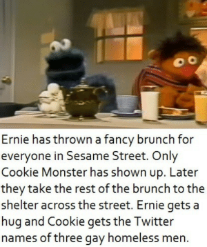 Cookie Monster and Ernie have an exciting day of ups and downs.: Cookie Monster and Ernie have an exciting day of ups and downs.
