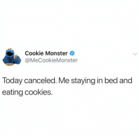 Agreed Cookie Monster😅🙌🏻 TwitterCreds: mecookiemonster: Cookie Monster  @MeCookieMonster  Today canceled. Me staying in bed and  eating cookies. Agreed Cookie Monster😅🙌🏻 TwitterCreds: mecookiemonster