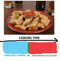 Frozen, Memes, and Pizza: COOKING TIME  COMPLETELY FROZEN OK NEED MEDICALATTENTION correct (@pizza)