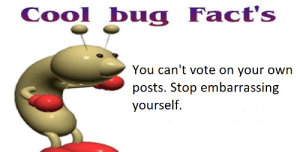 Stop it.: Cool bug Fact's  You can't vote on your own  posts. Stop embarrassing  yourself. Stop it.