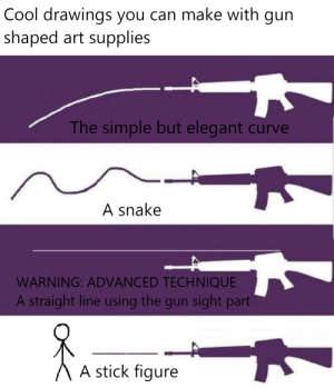 Curving, Cool, and Drawings: Cool drawings you can make with gun  shaped art supplies  The simple but elegant curve  A snake  WARNING: ADVAN CED TECHNIQUE  A straight line using the gun sight part  A stick figure Cool drawing ideas!