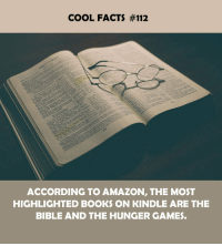Amazon, Books, and Facts: COOL FACTS #112  ACCORDING TO AMAZON, THE MOST  HIGHLIGHTED BOOKS ON KINDLE ARE THE  BIBLE AND THE HUNGER GAMES.