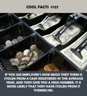 Facts, Cool, and How: COOL FACTS #127  IF YOU ASK EMPLOYEE'S HOW MUCH THEY THINK IS  STOLEN FROM A CASH REGISTERED IN THE AVERAGE  YEAR, AND THEY GIVE YOU A HIGH NUMBER, IT IS  MORE LIKELY THAT THEY HAVE STOLEN FROM IT  THEMSELVES.