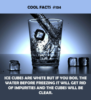 boil: COOL FACTS #134  ICE CUBES ARE WHITE BUT IF YOU BOIL THE  WATER BEFORE FREEZING IT WILL GET RID  OF IMPURITIES AND THE CUBES WILL BE  CLEAR.