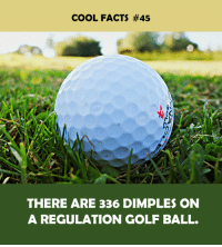 Golf Ball: COOL FACTS #45  THERE ARE 336 DIMPLES ON  A REGULATION GOLF BALL.