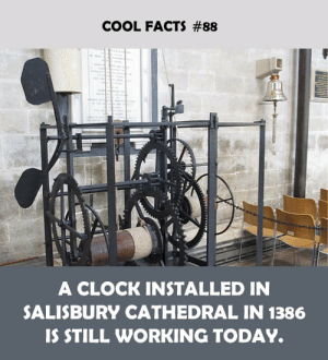Cool Facts: COOL FACTS #88  A CLOCK INSTALLED IN  SALISBURY CATHEDRAL IN 1386  IS STILL WORKING TODAY.