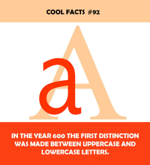 Lowercase: COOL FACTS #92  IN THE YEAR 6OO THE FIRST DISTINCTION  WAS MADE BETWEEN UPPERCASE AND  LOWERCASE LETTERS.