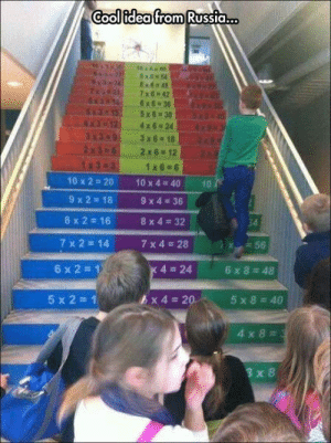 srsfunny:Mathematical Stairs: Cool idea from Russia.  6954  3 x618  2x62x6 12  10x2=20  9 x 2 18  8x2=16  7x2=14  1x6 6  10x4=40  9x4=36  8x4=32  7x4=28  10  34  56  6x2=1  4=24  6x8=48  5 x 2  1  6  x4=20.  4x8  3 x 8 srsfunny:Mathematical Stairs