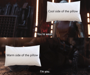 Not a Minecraft/wedding meme: Cool side of the pillow  You're weak.  Warm side of the pillow  I'm you. Not a Minecraft/wedding meme