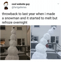 Life, Memes, and Cool: cool website guy  @fartgalleries  throwback to last year when i made  a snowman and it started to melt but  refroze overnight My life | Follow @aranjevi for more!