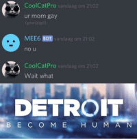 Detroit, Memes, and Peace: CoolCatPro vandaag om 21:02  ur mom gay  (gewijzigd)  MEE6 BOT vandaag om 21:02  no u  CoolCatPro vandaag om 21:02  Wait what  DETROIT  B E C O M E H U M A N I know it's dead but please let me post in peace via /r/memes https://ift.tt/2PPfUA5