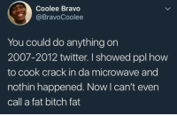 """Bitch, Dank, and Meme: Coolee Bravo  @BravoCoolee  You could do anything on  2007-2012 twitter. I showed ppl how  to cook crack in da microwave and  nothin happened. Now I can't even  call a fat bitch fat <p>2018 smh via /r/dank_meme <a href=""""https://ift.tt/2L9oVhp"""">https://ift.tt/2L9oVhp</a></p>"""