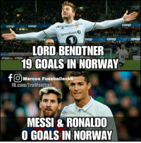 Haters will say Messi & Ronaldo don't play in Norway https://t.co/yDNkOuvlAl: coop  coop  SpareBank 0  coog  COOD  LORD BENDTNER  19 GOALS IN NORWAY  0  O Marcos Fussballecke  FB.com/TrollFoothall  MESSI & RONALDO  O GOALS IN NORWAY Haters will say Messi & Ronaldo don't play in Norway https://t.co/yDNkOuvlAl