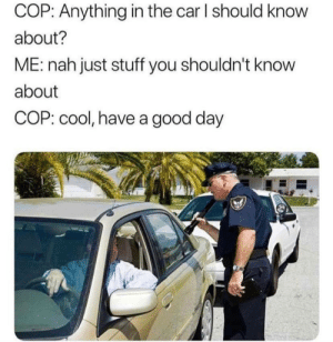 me irl: COP: Anything in the car I should know  about?  ME: nah just stuff you shouldn't know  about  COP: cool, have a good day me irl