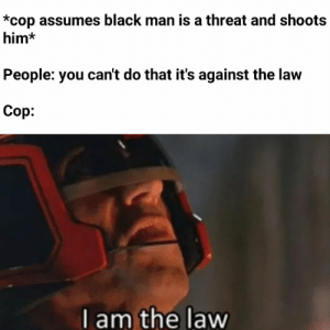 Wee, Black, and Dank Memes: *cop assumes black man is a threat and shoots  him*  People: you can't do that it's against the law  Cop:  I am the law Wee Woo Wee Woo