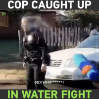 Dank, Party, and Police: COP CAUGHT UP  MOTHERFx***!  IN WATER FIGHT A female police officer got more than she bargained for while trying to stop a party that had 'spilled' onto the street!
