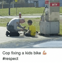 Memes, Police, and Respect: Cop fixing a kids bike  #respect  air @nchighwaypatrol making a difference!!! Great work. myhome northcarolina highwaypatrol statetrooper nchighwaypatrol trooper bike fix fixingabike cops police deputy @humanizingthebadge_official heroes honor respect badge thinblue thinblueline brotherhood backtheblue