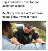 Funny, Sorry, and Next: Cop: I pulled you over for not  using turn signals  Me: Sorry officer. Can't let these  niggas know my next move Still funny 😂😂 NoChill