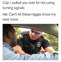 Dank Memes, Next, and Cop: Cop: I pulled you over for not using  turning signals  Me: Can't let these niggas know my  next move 👀👀