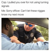 Funny, Lmao, and Sorry: Cop: I pulled you over for not using turning  signals  Me: Sorry officer. Can't let these niggas  know my next move Lmao NoChill
