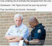 """Animals, Ducks, and Tigers: Cop: [making list of animals that escaped from the zoo]  Zookeeper: """"the Tigers should be your top priority""""  Cop: [scribbling out ducks] """"obviously""""  gettyimages  Roberto Machado Noa"""