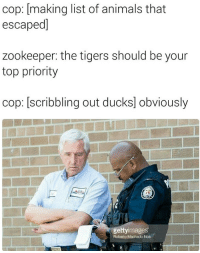 Animals, Ducks, and Tigers: cop: [making list of animals that  escaped]  zookeeper: the tigers should be your  top priority  cop: [scribbling out ducks] obviously  gettyimages  Roberto Machado Noa