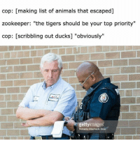"Animals, Memes, and Ducks: cop: [making list of animals that escaped]  zookeeper: ""the tigers should be your top priority""  cop: [scribbling out ducks] ""obviously""  gettyimages  Roberto Machado Noa <p>Obviously via /r/memes <a href=""https://ift.tt/2KZeX4T"">https://ift.tt/2KZeX4T</a></p>"
